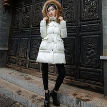 2016 Real Raccoon Fur Hoodie Winter Jacket For Women Adjustable Waist String Slim Long Down Coat Warm Thicken Parka High Quality