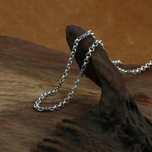 Image 4 - 4mm bambusowy naszyjnik 100% 925 srebrny łańcuszek modny naszyjnik mężczyzn biżuterii GN20