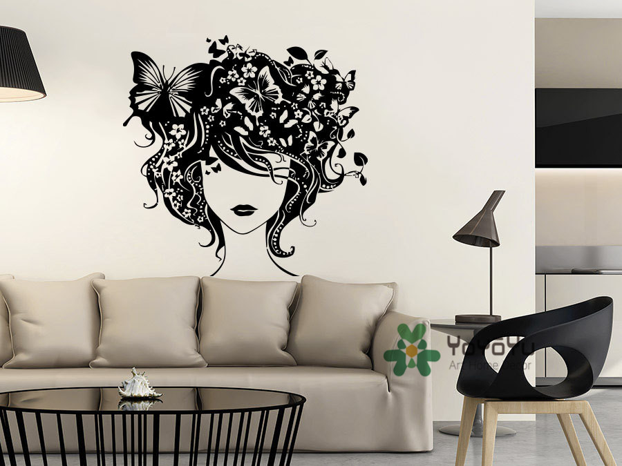 Home Decor Mural Art Wall Paper Stickers ~ Girls wall decor mural beautiful woman hair face high