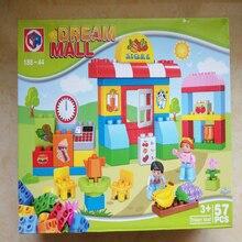 57pcs City Supermarket Mall Model Building Blocks Compatible Duploed City Building Sets Toys for Children gift