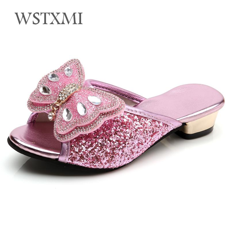 Girls Slippers Summer Shoes Kids Princess Sandals Children Casual Glitter Leather Beach Flip Flop Fashion Butterfly Low-heeled