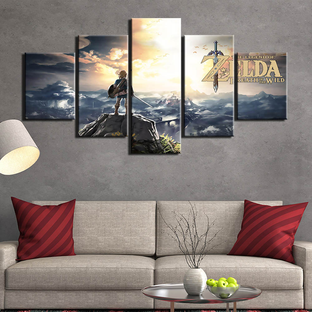 Modern HD 5 pieces game Legend Of Zelda canvas painting ...