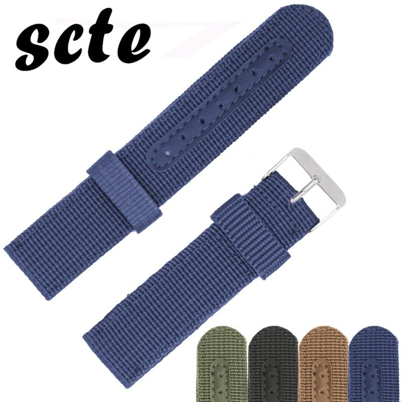 scte Blue 20mm Watch Band Strap Brown Nylon Mesh Watchbands 22mm Women Men Sport Watches Belt Accessories Relojes Black survival nylon bracelet brown