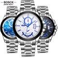 Bosck Relojes Cuarzo de Los Hombres Militar Deportes Masculinos Reloj Calendario Luminoso Impermeable A Prueba de Golpes Ocasionales Oyster Pulsera 3116