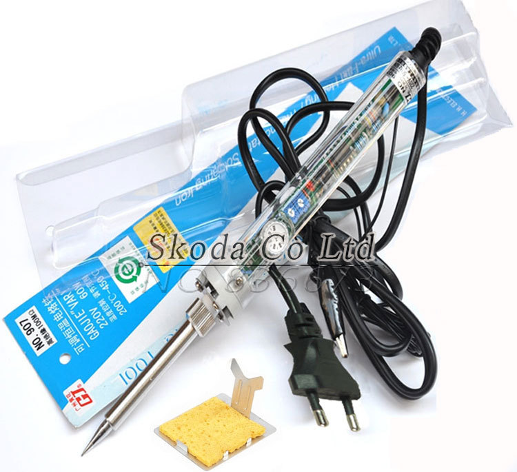 Free shipping EU Plug GJ 907 Adjustable constant temperature electric soldering iron+Y-type iron frame+Sponges for gift 907 adjustable constant temperature lead free soldering iron