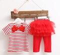 Ropa de Bebe Niña de Rayas Arco T-shirt Top + Falda De la Ropa de Los Niños Niñas Juegos de Ropa Para Niños Ropa de Moda trajes