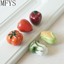 Unique Knobs / Ceramic Drawer  Handles Kitchen Cabinet Furniture Handle Apple Tomato Maize Strawberry Cabbage