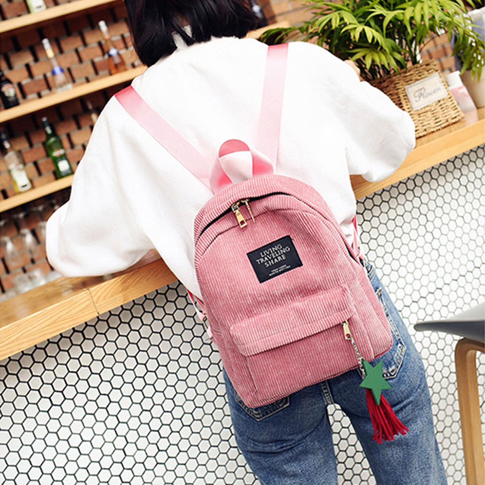Women's Fashion Canvas Tassel School Bags Travel Backpack Black Bag For Women  Backpack #yl1