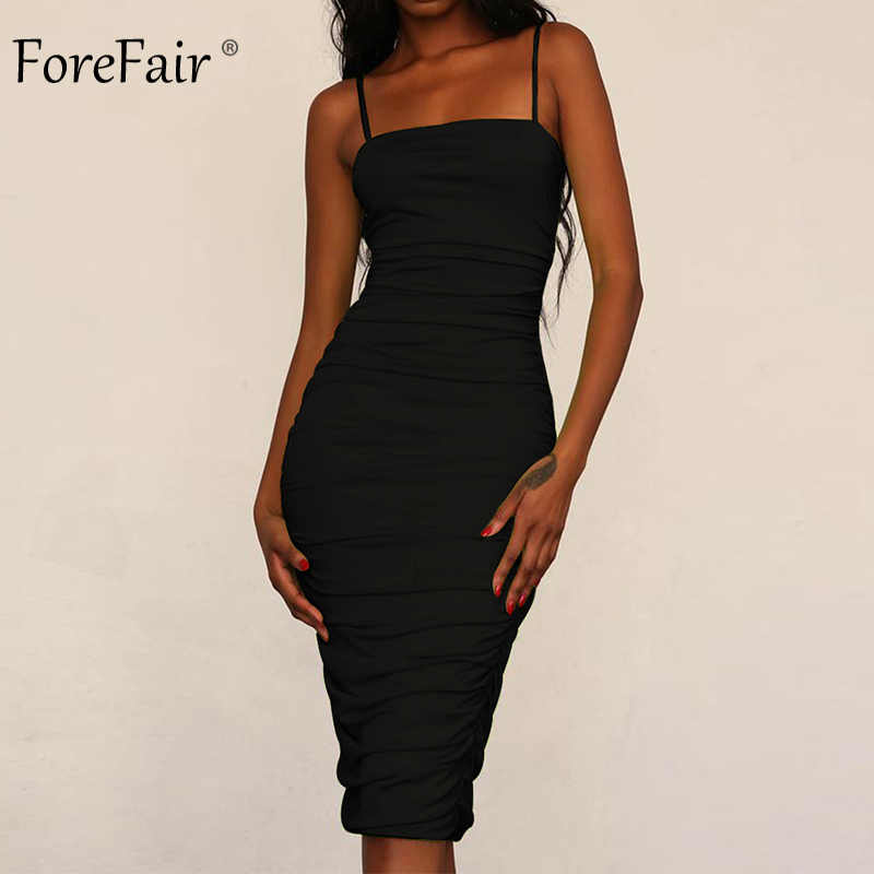 99295a6ff6f Forefair Women Sexy Sleeveless Pencil Dress Spring 2019 New Arrival Black  White Slash Neck Ruched Knee