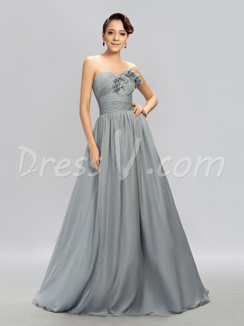 Long Silver Grey Evening Dresses Sweetheart Flower Ruched Chiffon