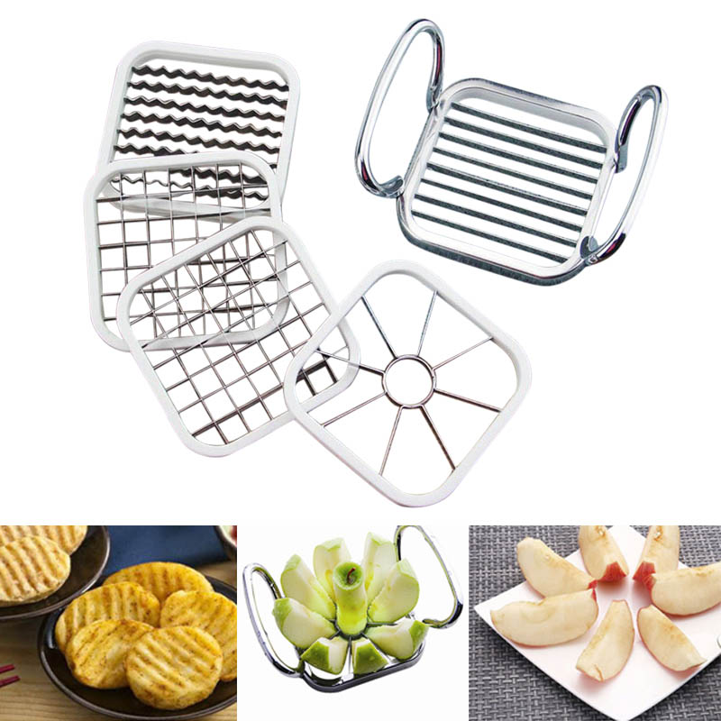 5pcs Stainless Steel Apple Cutter Slicer Vegetable Fruit Shredders Potato Chips Cutter Manual Strip Hot Sale