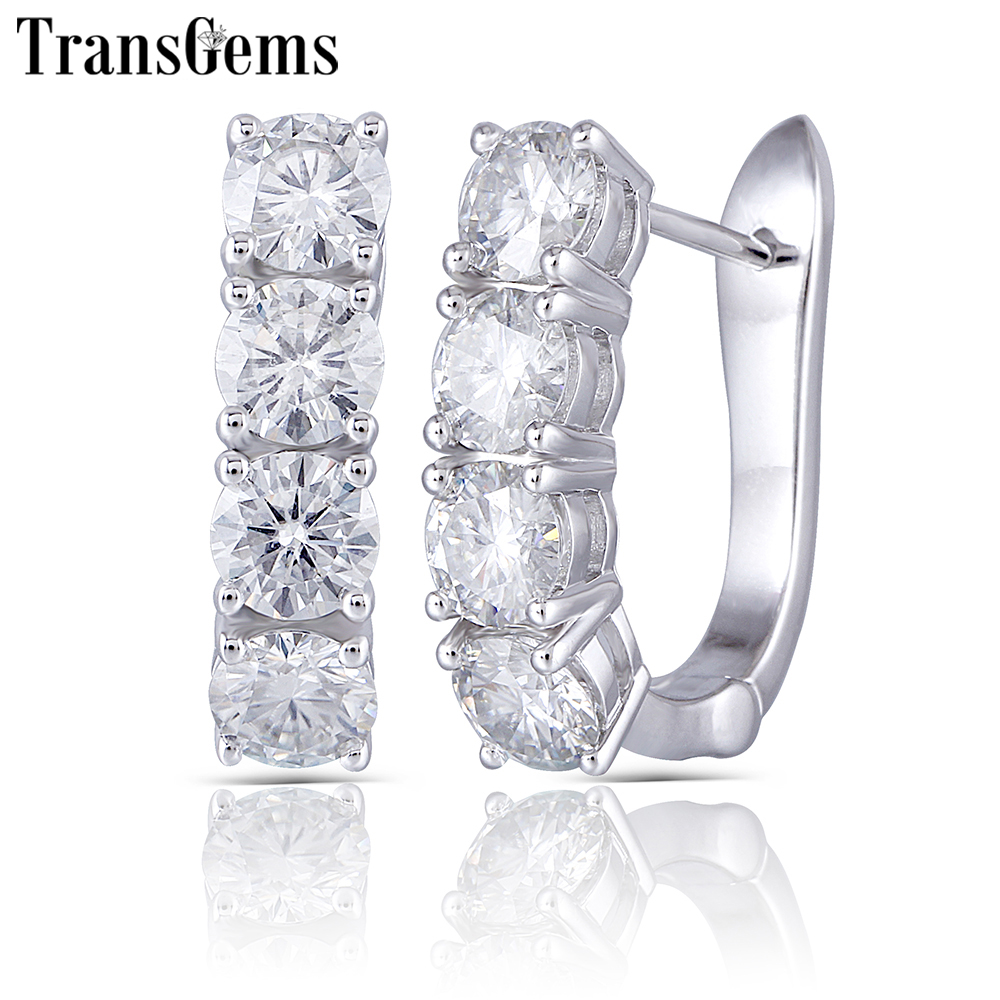 Transgems Hoop Earrings 4.5mm GH Color Moissanite Huggie Earrings U Hoop Shaped Platinum Plated Silver for Women geometric shaped silver plated blue diamond earrings