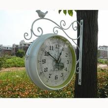 metal watch double sided wall clock vintage saat wrought iron wall clock wanduhr reloj mural wandklok