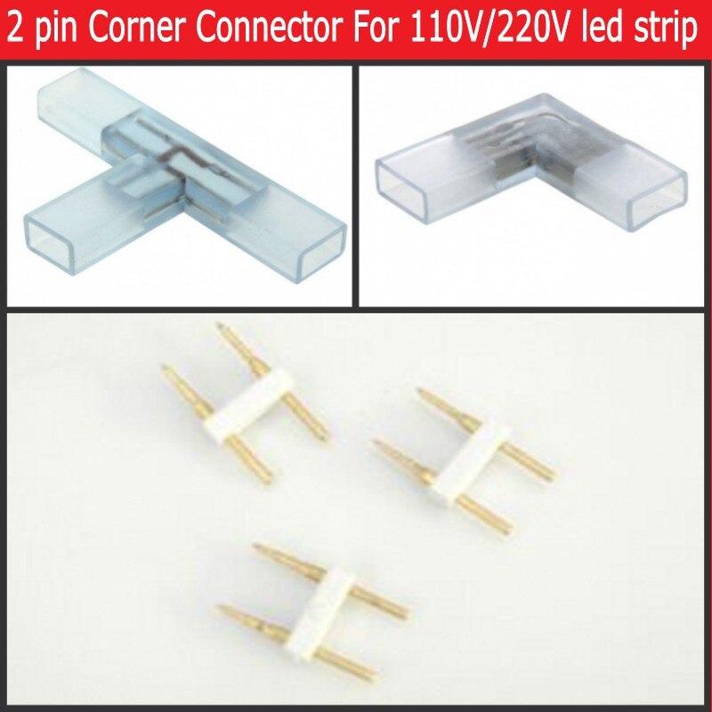 2 pin L T kształt złącze narożne środkowa wtyczka z miedzianą igłą do taśmy 110V 220V LED 5050 3014 2835 pojedynczy kolor