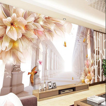 beibehang Large Painting Home Decor Roman lily flower art Hotel Background Modern Mural for Living Room Pared 3d Wallpaper