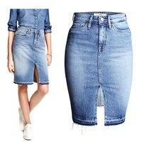 Fashion Denim Skirts Womens 2016 Front Slit Summer Jeans Skirt Midi High Waist Women Skirt