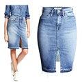 Moda Denim saias das mulheres 2016 frente Slit verão Jeans saia Midi cintura alta com saias