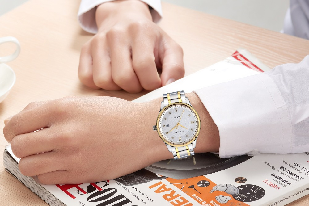Mige 2017 настоящая Новинка распродажа мужские часы Белый Черный Коричневый кожаный бизнес водонепроницаемый корпус из розового золота ультра... - 6