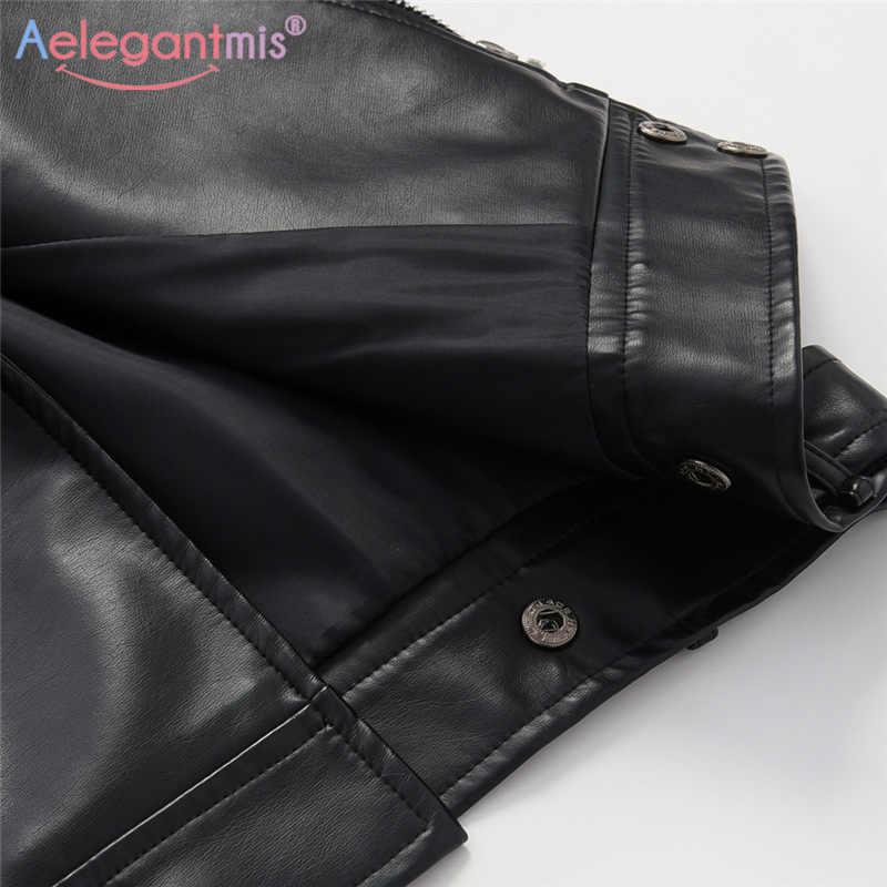 Aelegantmis новая свободная куртка из искусственной кожи, Женская Классическая байкерская куртка, весна-осень, женское базовое пальто, плюс размер, верхняя одежда
