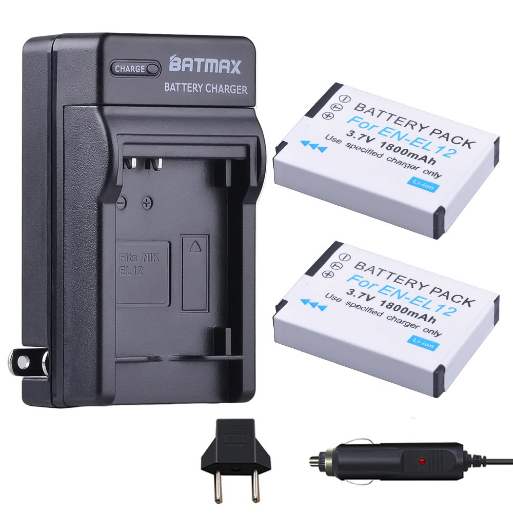 2 Packs EN-EL12 EL12 Battery + Charger Kits for Nikon Coolpix AW100 AW110 AW120 S9500 S9300 S9200 S9100 S8200 S8100 S6300 P330 1200mah battery car charger us plug ac charger set for nikon en el12 coolpix s610
