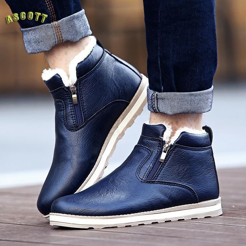 Новинка зимы Для Мужчин's Повседневное модные Ботинки с толстой хлопковой бархатное платье-комбинация ботинки с высоким голенищем Ботинки …