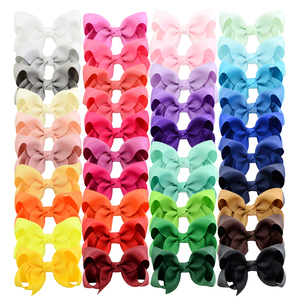 Image 1 - 3 inch 40 Bulk Small Toddler Ribbon Bows Alligator Hair Clips Solid Children Hair Bows For Pigtails Little Girl Hair Accessories