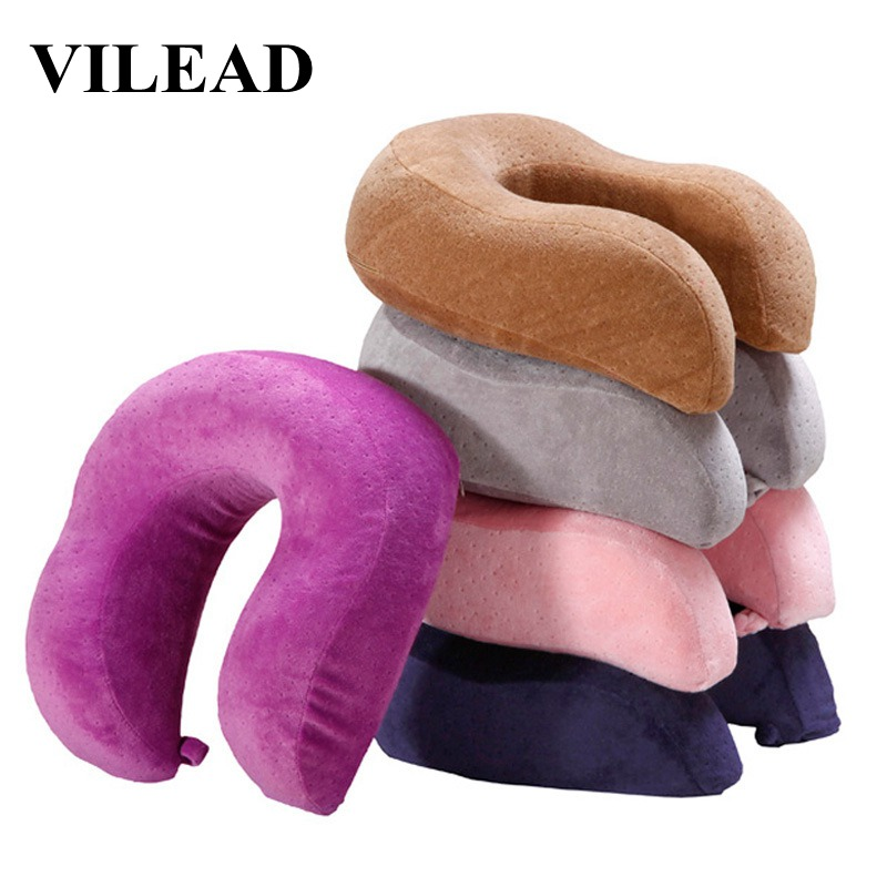 VILEAD U Shaped Neck Pillow Headrest Car Flight Airplane Pillow Neck Nap Sleep Cervical Spine Care Soft Travel with Memory Foam image