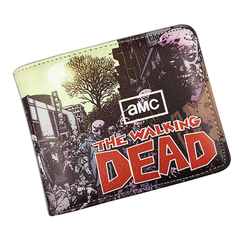 Walking Dead Wallets Dead-alive Person Classic Counter Purse PU Leather Short Wallet Dollar Price Card Holder Money Bags new anime wallets walking dead character leather purse gift for teenager students dollar card money bags casual short wallet