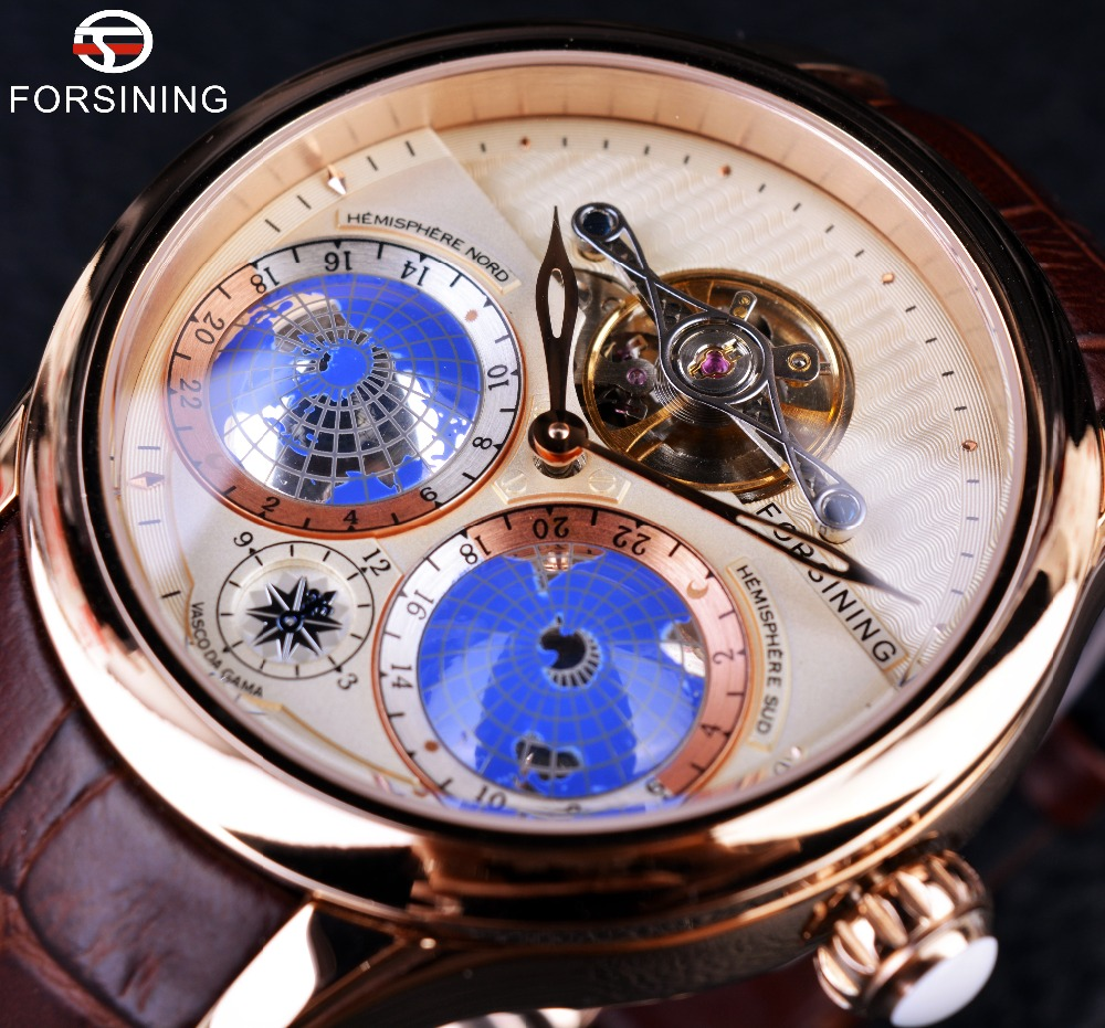 Forsining Designer Watch Real-Tourbillion Automatic Classic Men Luxury Brand Earth Rose-Gold