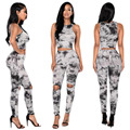 2016 Ink Painting Print Women Suit 2 Two Piece Set Tracksuit Crop Top and Pants Sets Sweat Suits Women Outfit