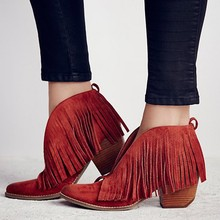 Vintage chunky high heels suede leather woman ankle boots V sharpe fringe bota feminina red black cowboy shallow botines