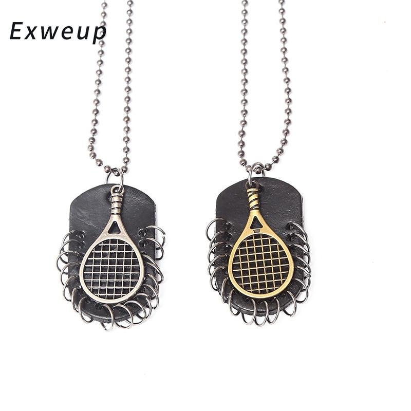 Exweup Панк ювелирные Личность бадминтон теннисные ракетки кулон Цепочки и ожерелья мужские кожаные ювелирные изделия
