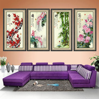 Plum bamboo chrysanthemum orchid New hot needlework 3d cross stitch kit Unfinished Ribbon embroidery painting fashion Home decor