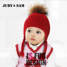 Judy&Sam Girls Winter Fur Pompom Hat Wool Knitted Bomber Hat Crochet Baby Hats Boys Beanie Caps with Real Fur Pompon