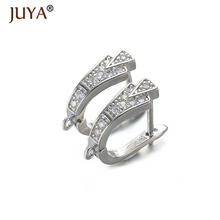 5 Pairs Gold Silver Rose Gold Black Fashion Copper CZ Rhinestone Clasps Earrings Accessories DIY Findings for Jewelry Making