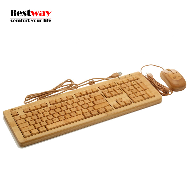 ФОТО Wired Keyboard Mouse Combo Bamboo Teclado Gamer Gaming Keyboard Klavye Mouse Set Standard Multimedia Teclado For PC Game TV BOX