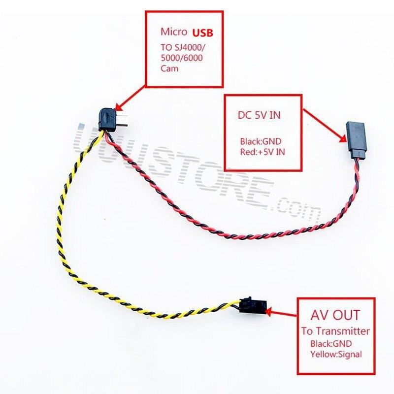 Micro USB to AV Out Cable for SJ4000 SJ5000 SJ6000 Camera FPV Video ...