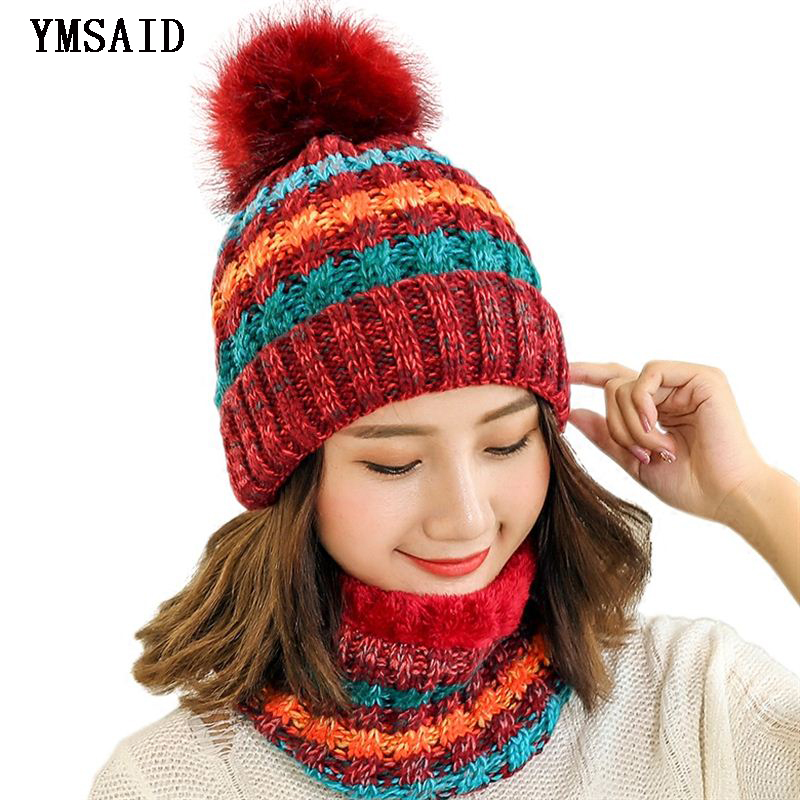 Woman Knit Beanie Hat And Scarf Set Hairball Pompom Hats Female Thick Hat 2pcs Winter Warm Cute Girls Fashion Cap Collar Suit