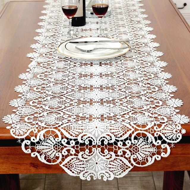 Bordado blanco camino de mesa elegante encaje vajilla para comedor ...