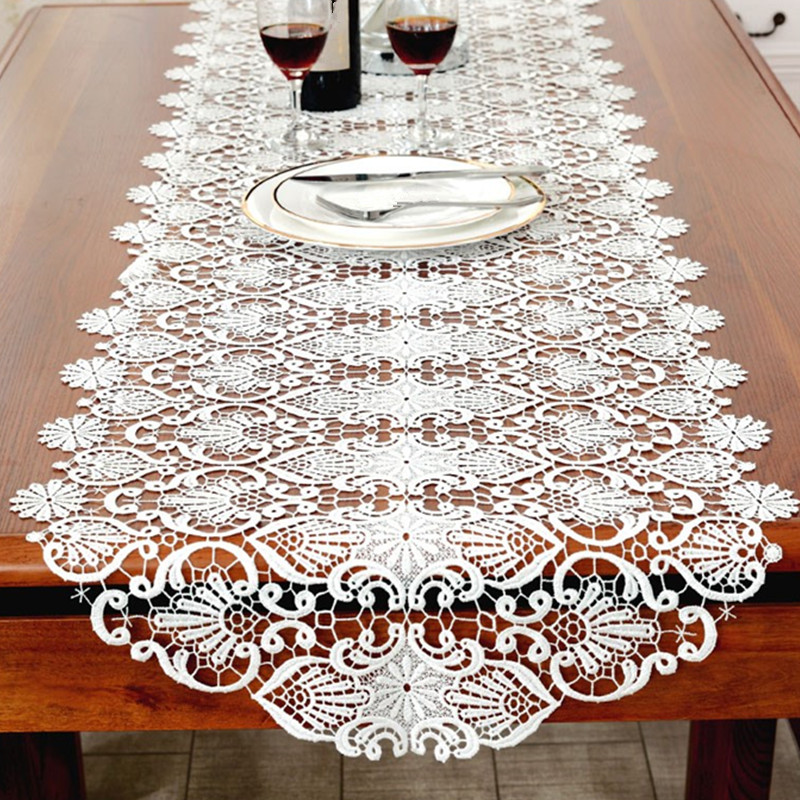 White Embroidery Table Runner Elegant Lace Tableware For Dining Room Restaurant Cafe Wedding Party Event Catering