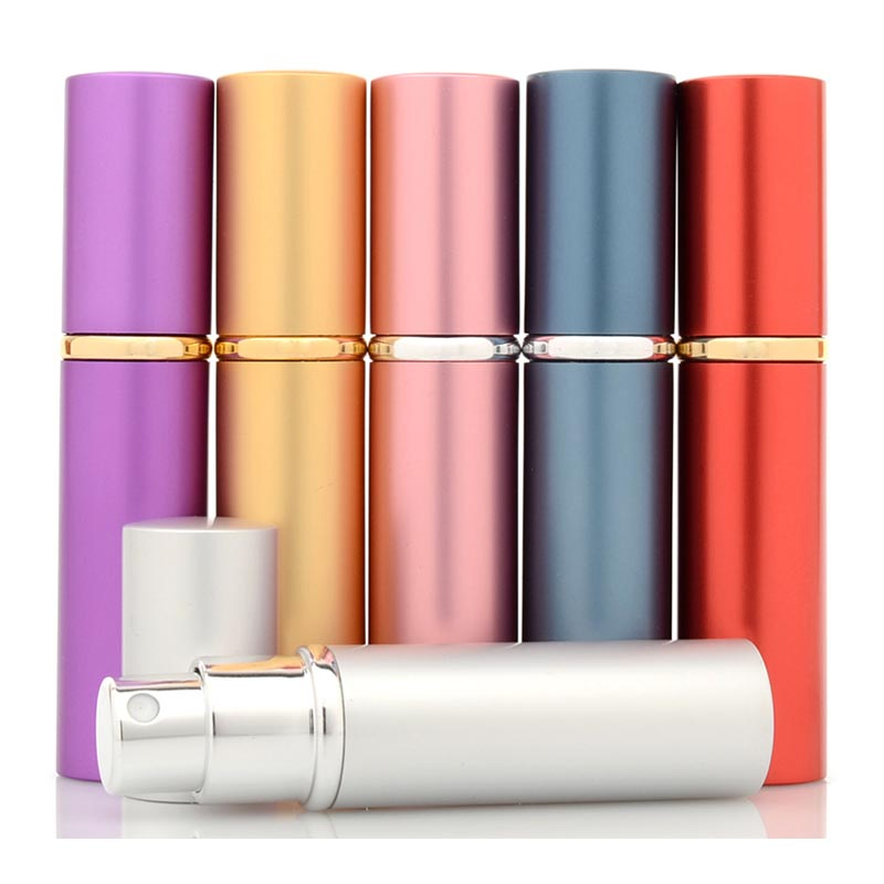 Portable Perfume 5ML Refillable Bottle Delicate Aluminum Spray Empty Cosmetic Containers with Atomizer for Travel Makeup Cases