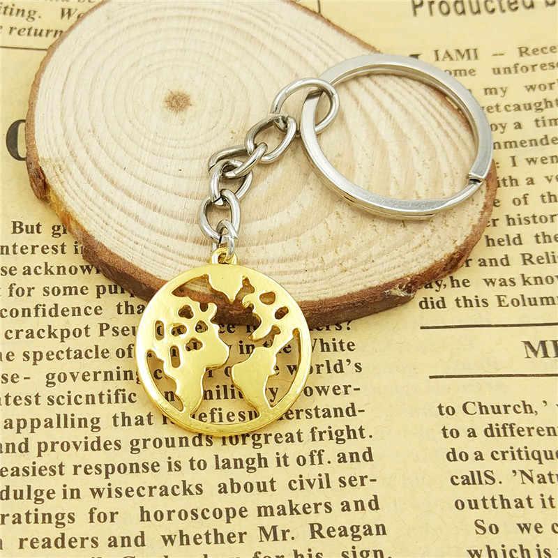 זרוק משלוח נשים תיק רכב מפתח במחזיק מפתחות מפת עולם טבעת תליון גיאומטרי חלול המפה העולמית מתנות תכשיטי זהב צבע כסף