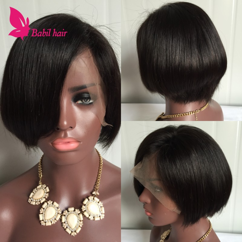 7AGlueless Lace Front Human Hair Bob Wig Natural Straight Brazilian Virgin Hair Short Glueless Full Lace Bob Wig For Black Women