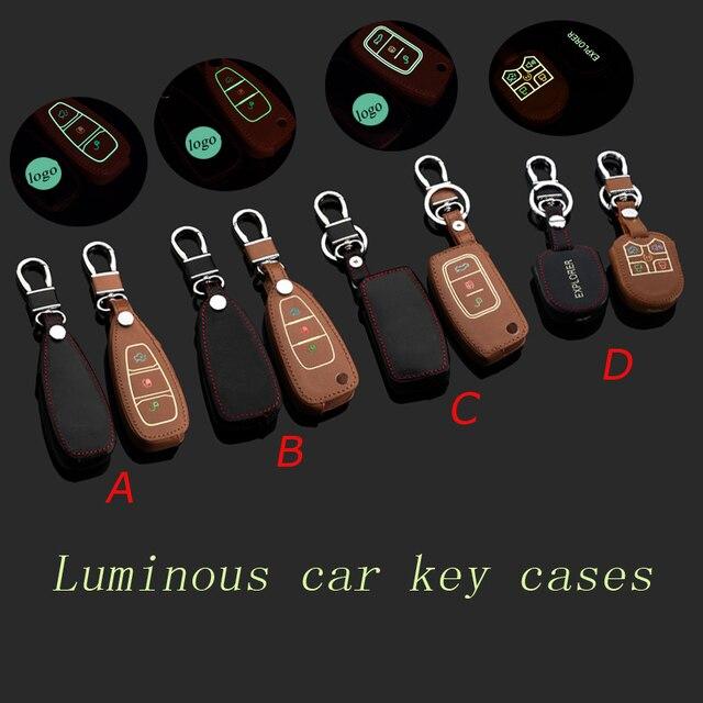 Cubierta de cuero del llavero del coche forFord Focus Kuga Nuevo Enfoque Explorador Edge Smart/Plegable llavero anillo titular de la clave bolsa de Accesorios