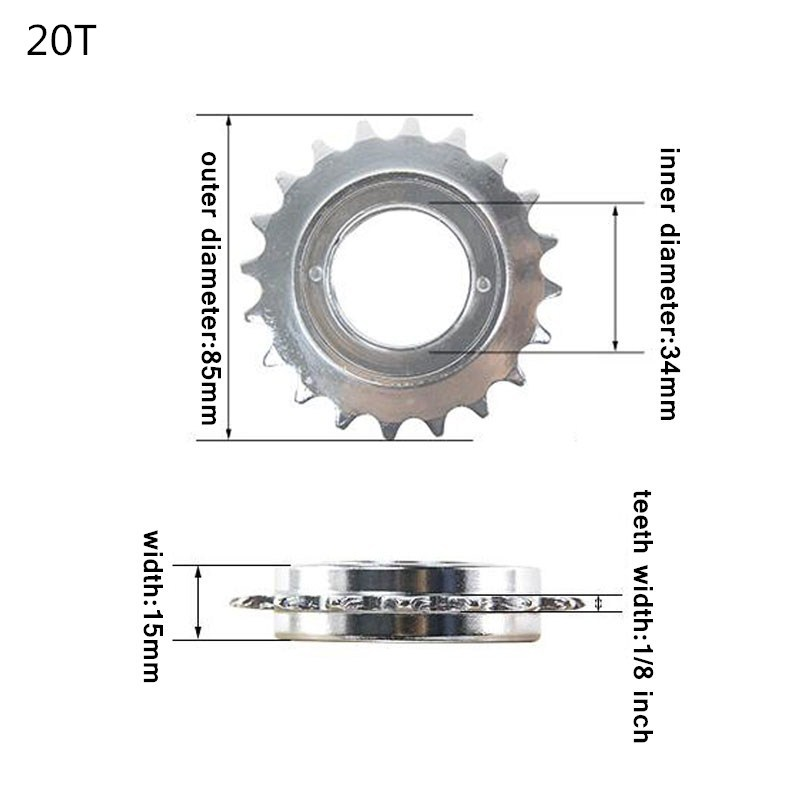 Single Speed Bicycle Freewheel Steel for MTB Bike Flywheel Sprocket US 20T