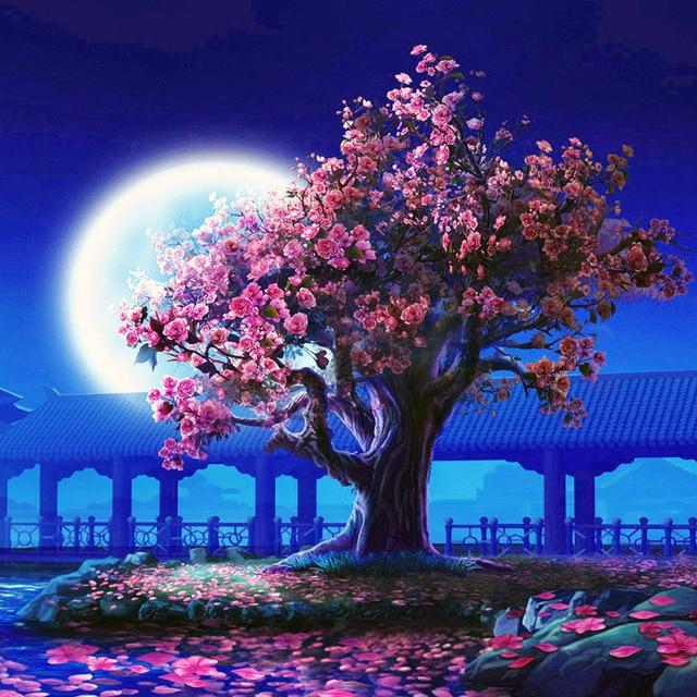 Besar Bulan Dan Pohon Besar Diy Lukisan Dengan Nomor Kit Mewarnai