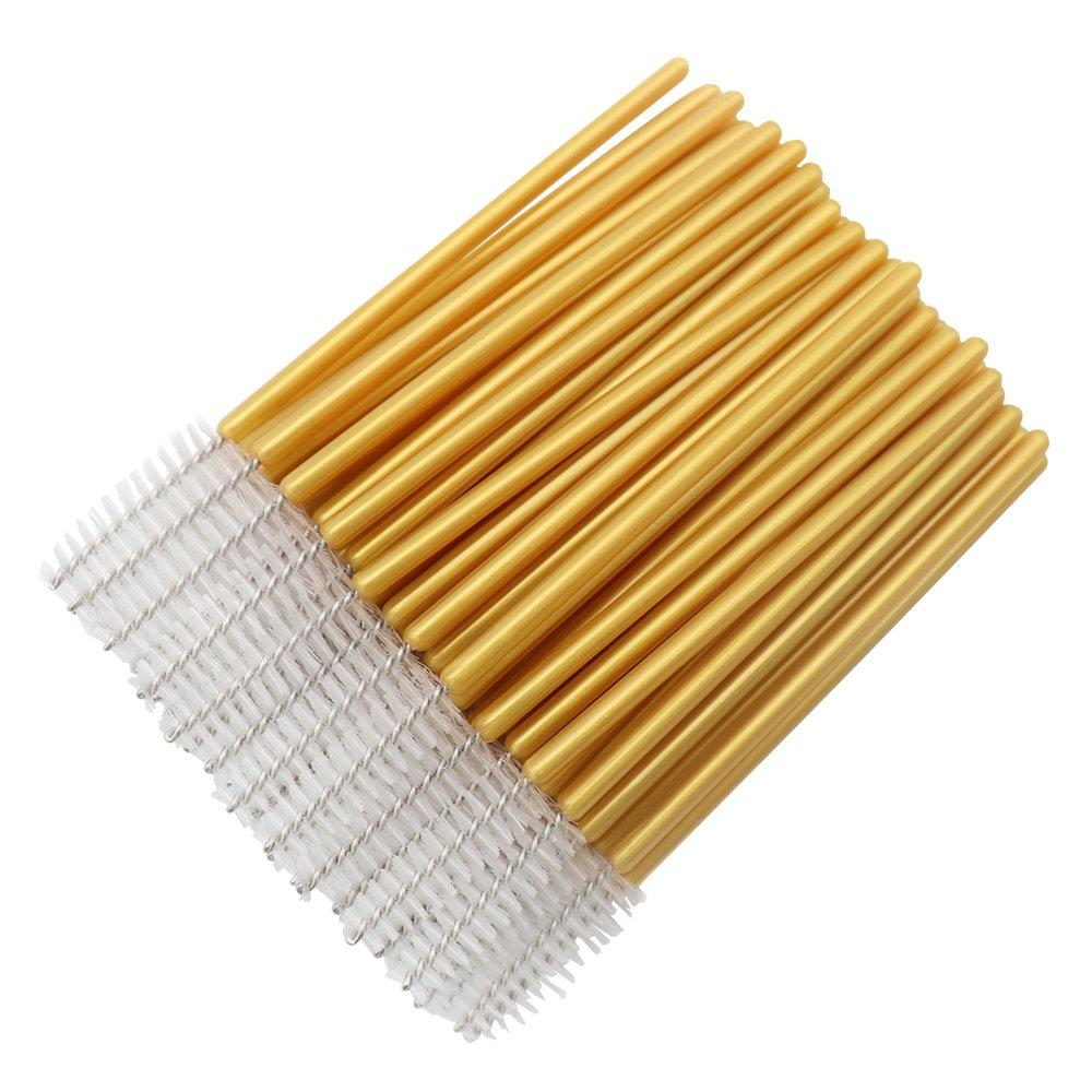 Image 2 - 1000pcs/lot Gold Stick Disposable Mascara Wands Applicator Lash Nylon Makeup Brushes Eyelash Extension Makeup AccessoricesEye Shadow Applicator   -