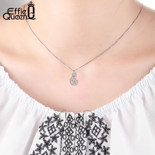 Effie Queen Crystal Women S925 Sterling Silver Necklaces Cute Fox Pendant Necklace for Women Lady Girl Jewelry Best Gift BN53 3