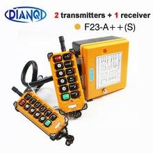 Grue sans fil 12V 24V 36V 220V 380V, télécommande F23 A ++ S, télécommande industrielle, interrupteur à bouton poussoir, palan jaune