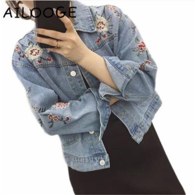 Plus Size denim   jacket   women Long Sleeve   basic     jackets   Women Vintage Flower Embroidered Denim women   jacket